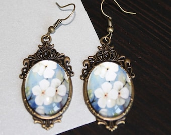 White and Blue Floral Earrings, Victorian Style Dangle Earrings, Large Jewellery, Floral jewelry, Glass Cabochon earrings, Gift for her