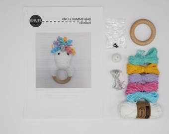 DIY crochet kit unicorn rattle