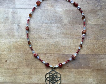 Fire & Ice Flower of Life Necklace