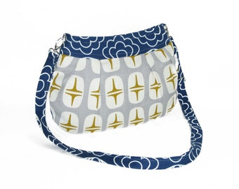 Organic Handmade Little Sophisticate Cross Body Sling Purse - Navy Blossom with Retro Stars - Free Shipping