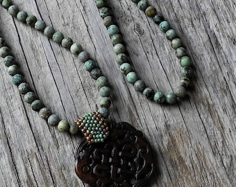 Long Necklace - African Turquoise beads - Vintage Carved Jade Pendant - Statement Necklace - Beaded Bale Jade Pendant - BOHO