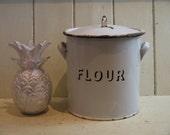 Vintage Enamel Flour Bin ...