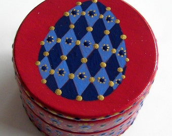 Hand Painted Love Boxes Blue Red Egg Easter Box Wood