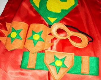Children's Custom Superhero Personalized Kids Cape Including Matching Mask, Belt and Wrist Cuffs