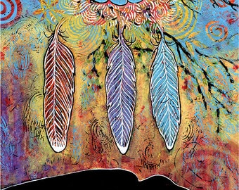 Raven Bird Nest Artwork. Bird Art Print. Whimsical Bird Art. Bird Print titled Protecting the Nest III. Raven Feather. Nest Art.