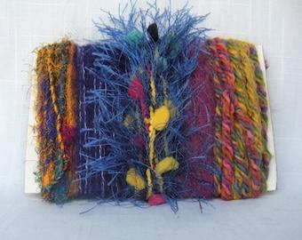 Handspun Silk Sari Fiber Art Yarn Bundle Colorful 1700