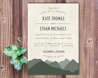 Mountain Wedding Invitation, mountain wedding invite, outdoor wedding invitation, mountains
