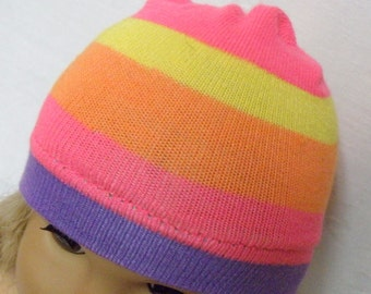 """American Girl Doll Hat, NEON PINK Rainbow Striped Skull Cap for 18"""" Doll - Breast Cancer Awareness"""