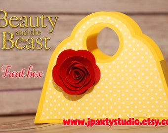 The Beauty and the Beast treat box, favor box, The Beauty and the Beast Party Supplies, SET of 6