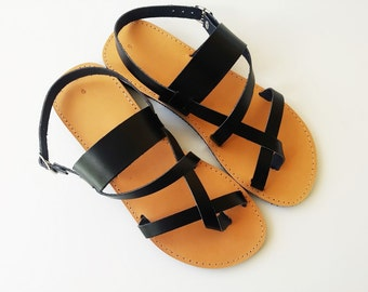 Ancient Greek Sandals In Black Leather Color - Women Leather Sandals