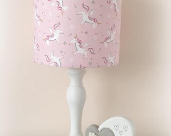 Lampshade Handmade Pink Unicorn Fabric Girls Room 20cm 30cm Drum Nursery