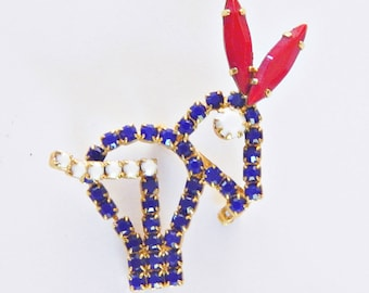 Vintage Red White & Blue Donkey Pin - Show Your Patriotic Democratic Colors
