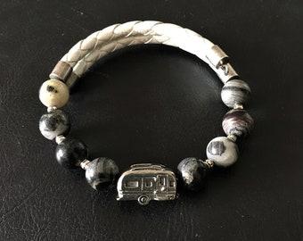 Airstream Bracelet, Black Silver Leaf Jasper Bracelet, Leather Bracelet, Camper Charm, Airstream Charm, Gift for RVer, Wrap Bracelet, 99006