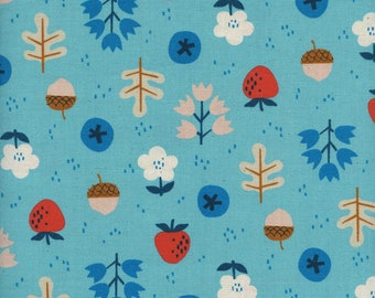 Cotton + Steel Welsummer - Kim Kight - Forage - Bright Blue - Unbleached Quilting Cotton