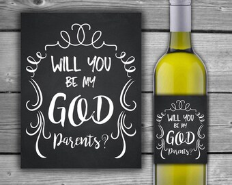 INSTANT DOWNLOAD - Will You Be My Godparents - Wine Bottle Label - Printable- DIY - Digital Wine Label - 00145