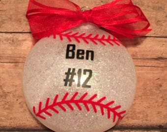 Personalized Baseball  Glitter Christmas Ornament/ Baseball Player/ Baseball Team