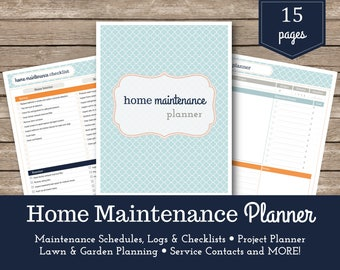 Home Maintenance Planner / Home Management  / Maintenance Checklist / Project Planner / Household Organizer / Home Improvement