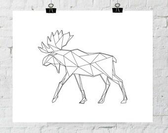Antler Art, Moose Antlers, Wall Art, Wall Antlers, Black and White, Modern Art, Moose Wall Art, Moose Print, Triangle Geometric Art, Prints