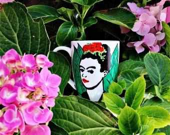 SALE Frida Kahlo with Flowers Stencil hand painted Japanese Mug