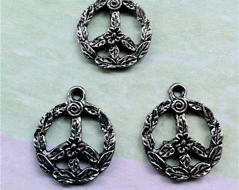 Round Peace Sign Charms -3 pieces-(Antique Pewter Silver Finish)--style 658--Free combined shipping