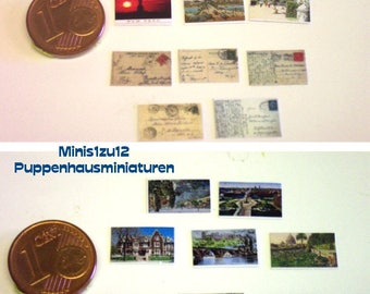 2502# Miniature post cards either in color or black and white - Doll house miniature in scale 1/12