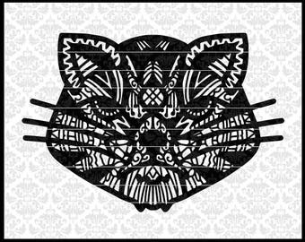 CLN0707 Cat Kitty Hand Drawn Patterned Intricate Zentangle SVG DXF Ai Eps PNG Vector Instant Download Commercial Cut Files Cricut SIlhouette