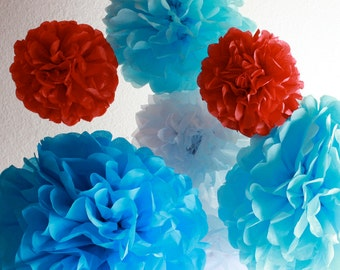 12 Tissue Paper Pom Poms- The Cat In The Hat Party Set