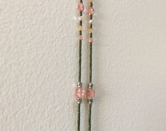 Long lariat yellow pink