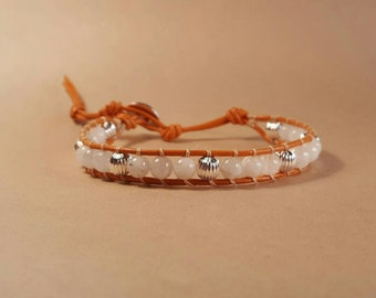 Moonstone and Sterling Silver Plate Beaded Bracelet