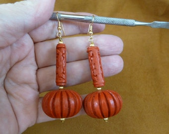 big red CINNABAR earrings pierced French wire wood carved bead beads EE400-42