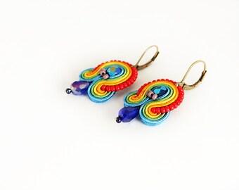 Rainbow earrings, colorful earrings, rainbow soutache earrings, pride jewelry, rainbow jewelry, rainbow pride earrings, soutache jewelry