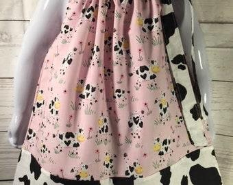 Cow print girl dress, Cowgirl dress, Girl Western Dress Country girl dress, Farm party dress, Farm girl dress