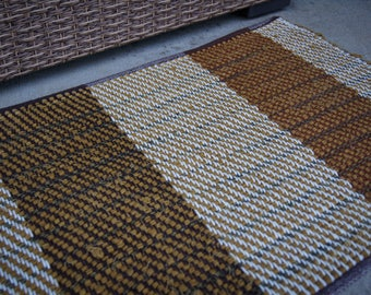 Handmade Rug, Woven Rag Rug, Brown Handmade Rag Rug, Country Farmhouse Decor, Handwoven Textile