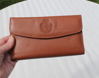 Leather Wallet / Envelope Wallet / Clutch in Brown by Mundi - Never used - Checkbook Wallet