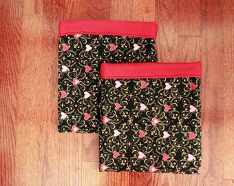 Red Hearts & Scrolls - Double Snuggle Sack Set for Small Animals