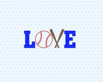 Baseball Svg, Love Baseball, Love Softball, Baseball Heart, Svg, Svg Files, Silhouette Files