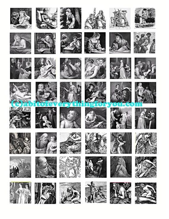 antique renaissance medieval drawings vintage art collage sheet 1 inch squares clip art digital download graphics people images printables