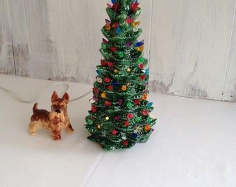 Ceramic Christmas Tree Lighted Tabletop Vintage Dr. Seuss Whoville Style Tree Light Up Tree Table Tree Lighted Tree Small Ceramic Christmas