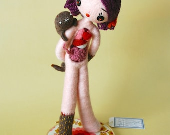 Print: Anatomical Female C with Ectoplasm  - doll anatomy specimen beige needle felted felt art plush toy photograph wall decor