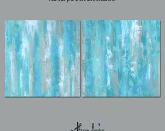 Giclee fine art print set of original abstract paintings, Teal blue grey tan, Large wall art, Two piece, Square, Master bedroom, Office