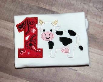 1st Birthday Shirt for Boys, Farmyard Birthday Shirt, Barnyard Birthday Shirt, Cow Birthday Shirt, Farm Animal Birthday Shirt