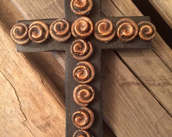 Mexican Rustic Cross Decor and Wall Hanging- Copper and Black colorwash Plaster art-handmade Ready To Hang
