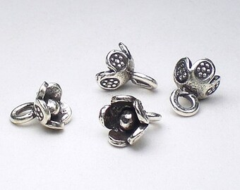 Small Fine Silver Flower Charms Karen Hill Tribe Charm 7mm 4 pcs. HT-198