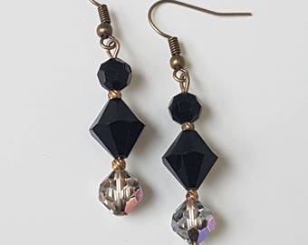 Vintage Deco Inspired Drop Dangle Black & AB Aurora Borealis Glass Bead Earrings