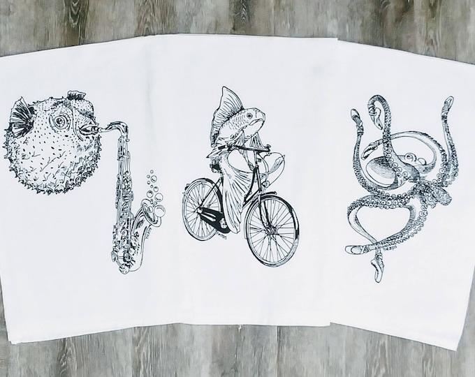 Tea Towels Set - Black Ink Screen Printed Nautical Fish - Kitchen Towels - Dish Towels - Cotton Towels - Flour Sack Towels  Animal Towel