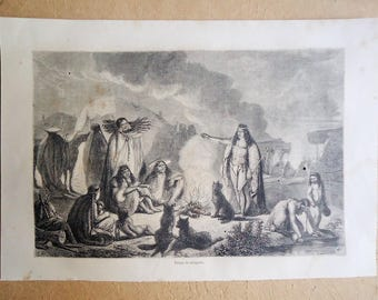 NORTH AMERICANS INDIANS. Beautiful Engraving of 1863... Authentic antique Engraving!!