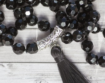 Long black tassel necklace / hand knotted black glass bead tassel necklace