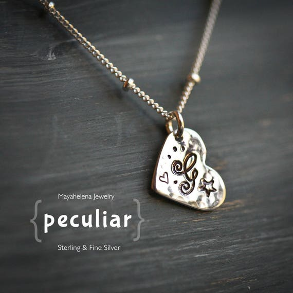 Peculiar - Initial Heart Simple Sterling Silver Mecklace