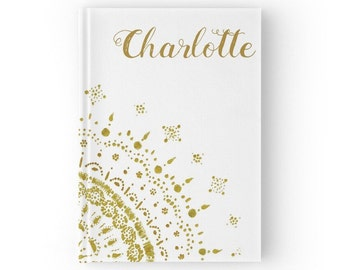 Gold Personalized Journal, hardcover journal, custom name journal, gold white journal, personalized notebook, personalized journal