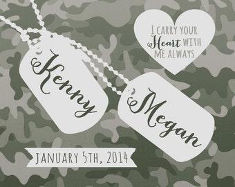 Military Wedding Gift, Custom Present for Army Couple -  Art Print, Husband Deployment, Marine Wife, Army Print, Camouflage Dog Tags